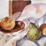 Bodegón con frutas maduras Pilar Sánchez Moliní Técnica: Acuarela sobre Papel Tamaño: 28 x 38 Precio: 40 €