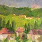 La aldea Manuel Guerrero  artista honorífico Tamaño: 28x40 cm Técnica: Acrílico sobre tabla Precio: 80€