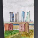 Las 4Torres  Patricia Guerrero  Tamaño: 21 x 14,5 cm Técnica: Acuarela en papel