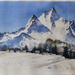 Acuarela Nieve en la Cordillera