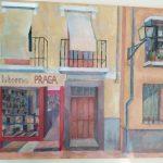 Rincón de Granada con libros Isidro López Heredia 2020  Técnica: Acrílico Tamaño: 50x70 cm